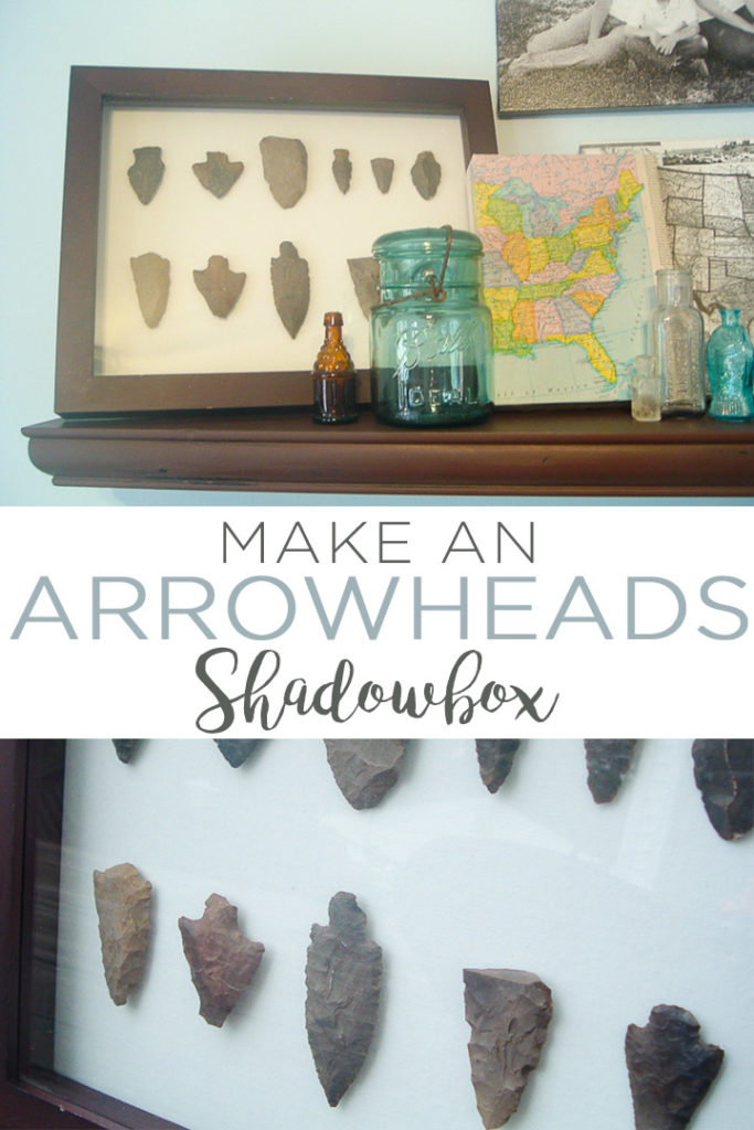 Make a DIY arrowheads shadowbox to display arrowheads in your home's decor! A quick and easy project that will look great in a farmhouse style home! #arrowheads #homedecor #farmhouse #farmhousestyle