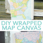 Make this map craft with just a few supplies! Wrap a canvas with a vintage map for a gorgeous DIY addition to your home decor! #map #craft #homedecor #vintage