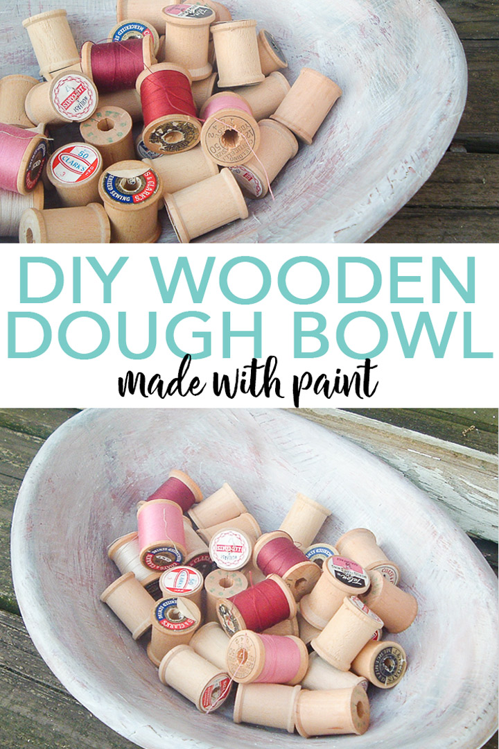 Learn how to make a DIY wooden dough bowl with an old bowl and some paint! This farmhouse style faux paint treatment will look great in any room of your home! #plaidcrafts #farmhouse #farmhousestyle #vintage #antique #fauxfinish