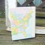 Map Craft Idea: DIY Wrapped Map Canvas