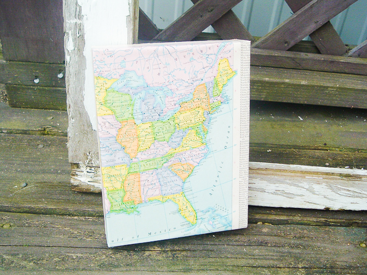gorgeous wrapped map on canvas