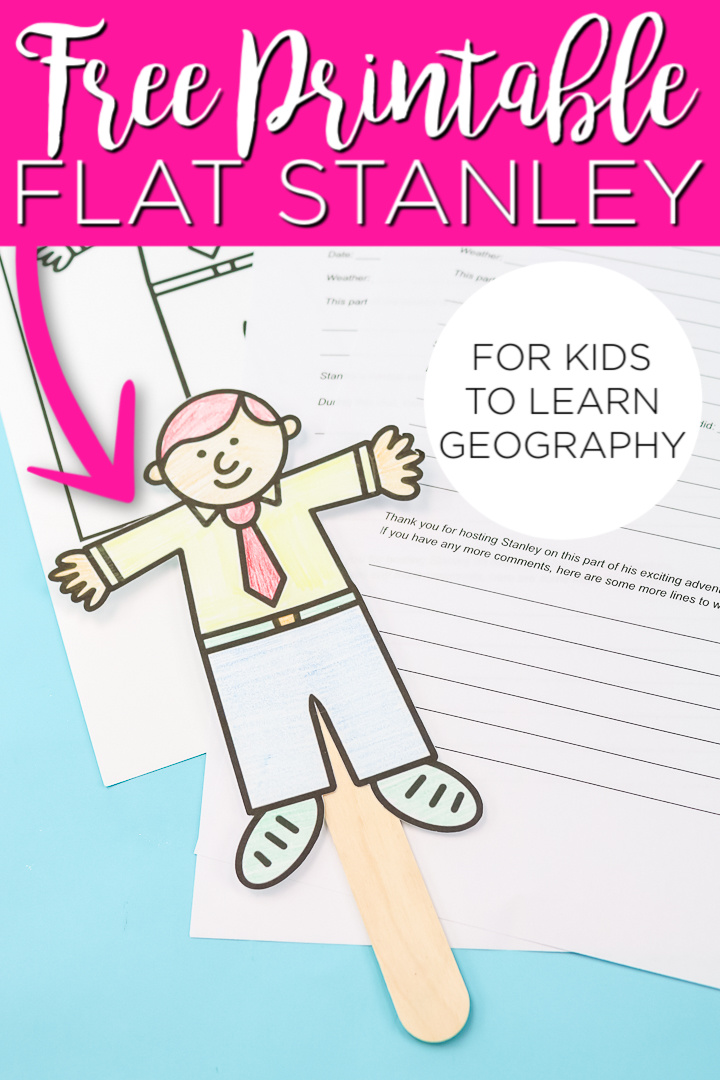 This free printable Flat Stanley is perfect for helping to teach your kids geography! Includes a printable questionnaire to send Stanley to family and friends in the mail! #flatstanley #kids #kidscrafts #learningcrafts #printable #freeprintable #geography