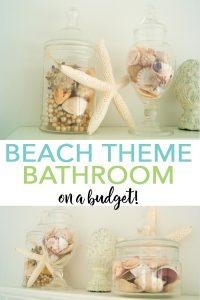 You too can make a DIY beach themed bathroom on a budget! See our tips and tricks here! #bathroom #beach #coastal #homedecor