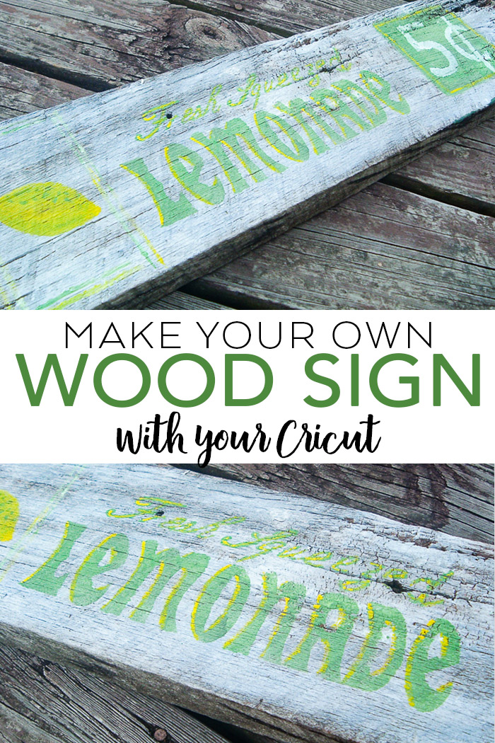 Learn how to make your own wood sign with your Cricut machine and a few other supplies! #cricut #cricutmade #farmhouse #rustic #lemonade #sign