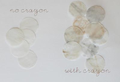 using crayons to make faux capiz shells