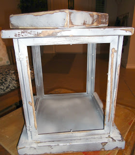 rustic paint treatment on a lantern