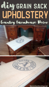 Amp up your country farmhouse decor with a grain sack upholstery project! We have everything you need to know about covering a stool with a grain sack! #farmhouse #farmhousestyle #country #homedecor