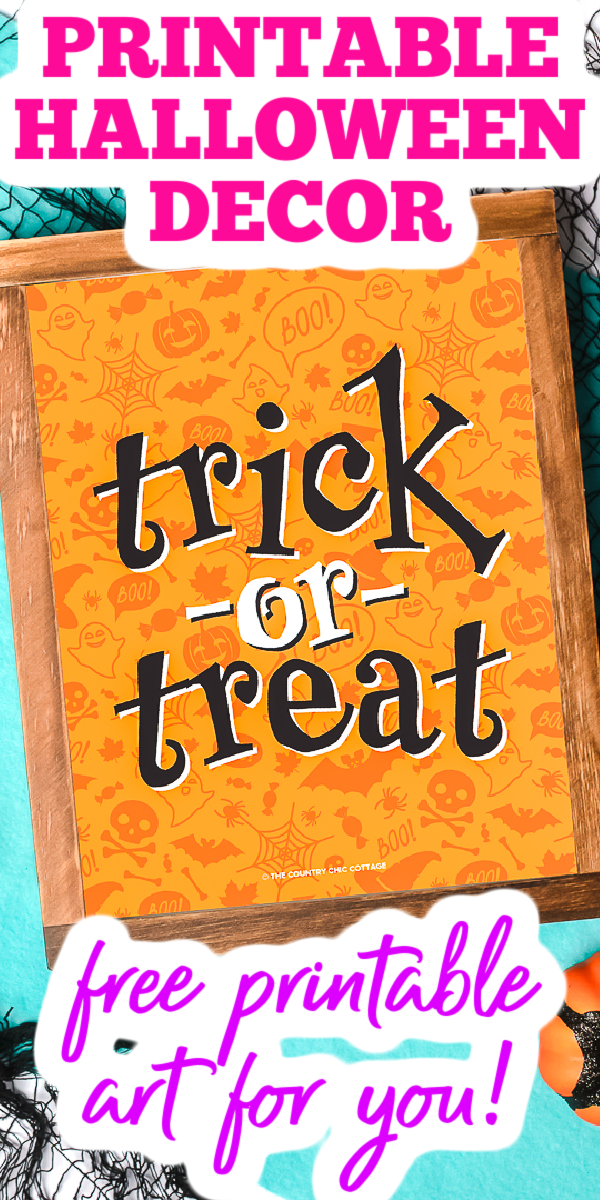 Get some free Halloween printable decorations with our list! A great trick or treat printable art as well as links to even more decorations you will love! #freeprintable #printable #halloween #trickortreat #decor #homedecor