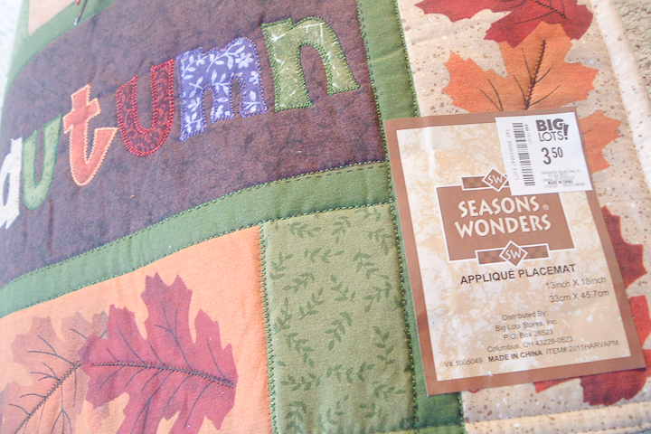 autumn placemat used to make a pillow
