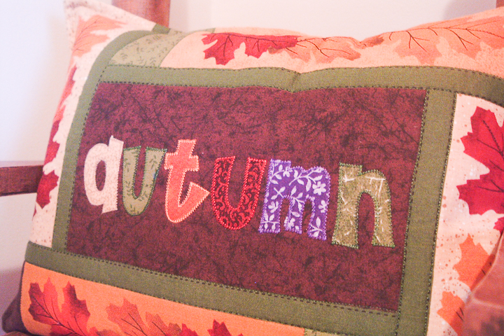 autumn pillow from a placemat