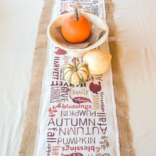 burlap table runner for fall