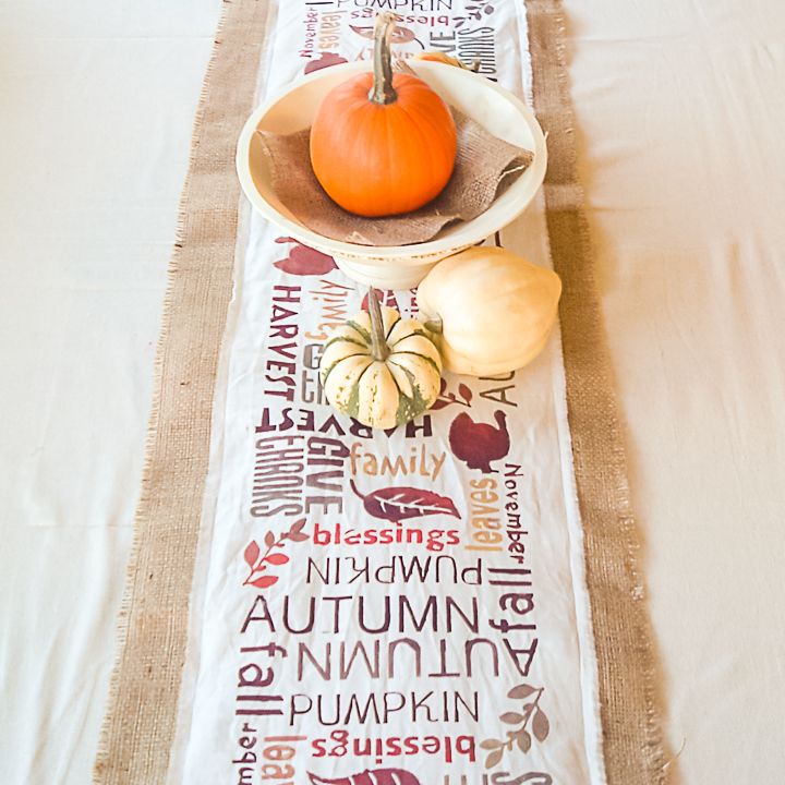 burlap table runner for fall