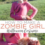 Learn how to make a zombie girl costume that is perfect for Halloween! This teen costume is both inexpensive and easy to make! #halloween #halloweencostume #zombie #teens