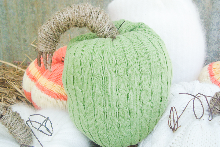 diy sweater pumpkin in green