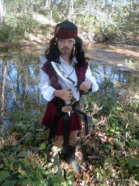 Little man insisted that pictures with cows in the background were not good enough for Jack Sparrow.  sc 1 st  The Country Chic Cottage & How to Make a Jack Sparrow Costume and a COSTUME CONTEST! - The ...