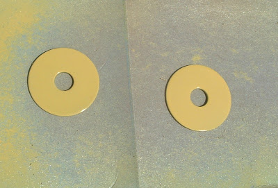 Spray painted metal washers used for magnets