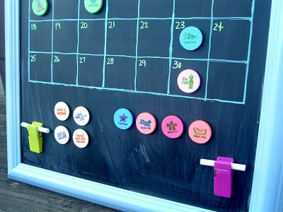 This magnetic chalkboard calendar is a great way to keep your family schedule organized