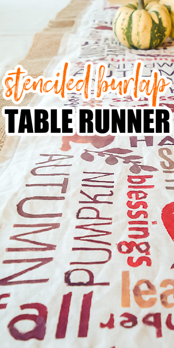 Learn how to make this DIY burlap table runner for Thanksgiving! Making a stenciled burlap table runner is easy with the right tools! #burlap #thanksgiving #tablerunner #stenciling