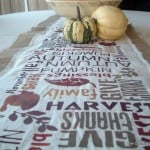 Subway Art Burlap Table Runner -- make with a stencil and some paint!