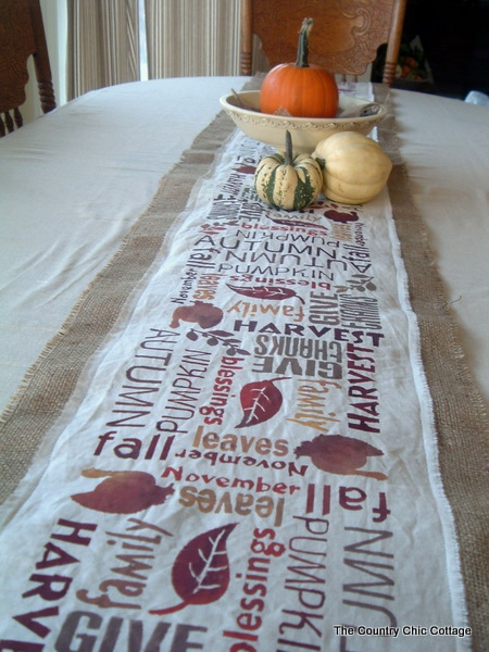 Subway Art Burlap Table Runner   Point Of View   The Country Chic Cottage