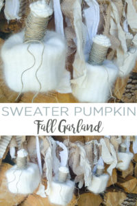 Make this sweater pumpkin fall garland for any room in your home! This upcycled no sew craft is perfect for those that love farmhouse style! #farmhouse #upcycled #pumpkins #fall #falldecor