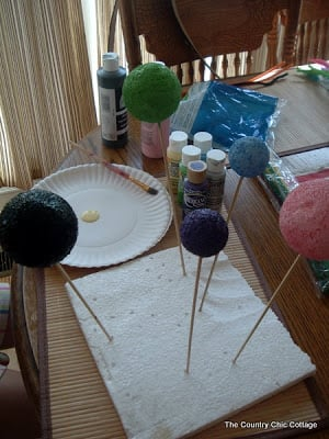 drying styrofoam balls for spider craft