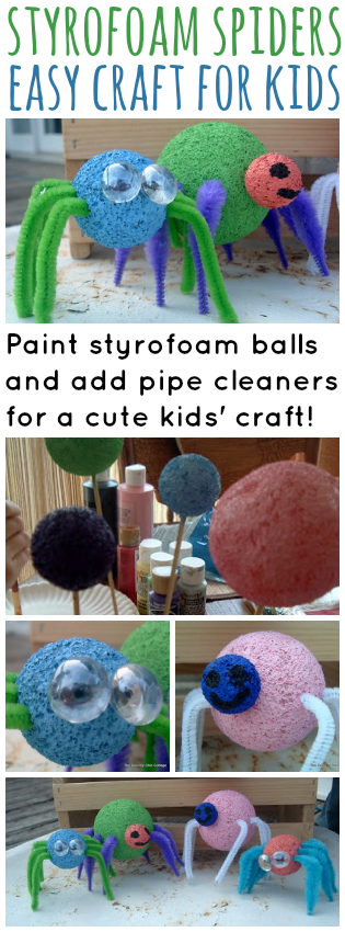 styrofoam spiders for kids pinterest image