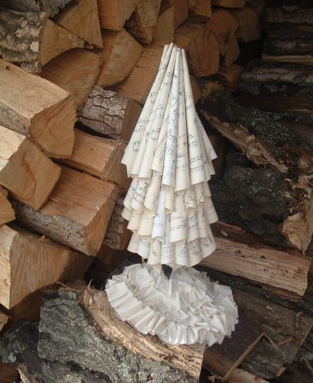 Turn vintage sheet music into a gorgeous Christmas tree!