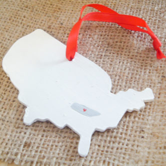 personalized state christmas ornaments