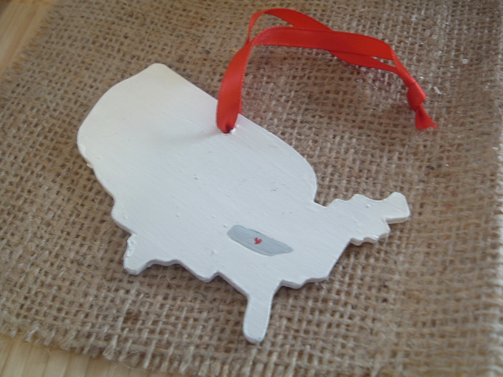 state map christmas ornament