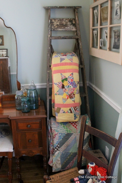 Vintage Ladder Quilt Hanger The Country Chic Cottage