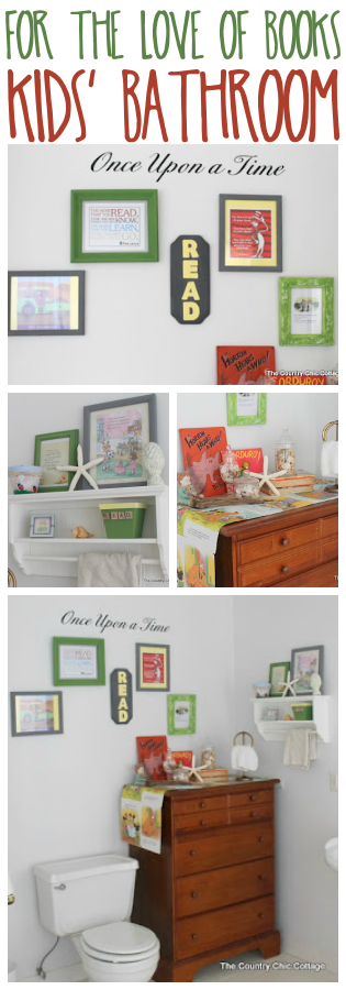 For the love of books -- a fun way to add reading decor to a kids bathroom!