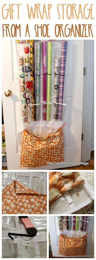 Turn an over the door shoe organizer into gift wrap storage!