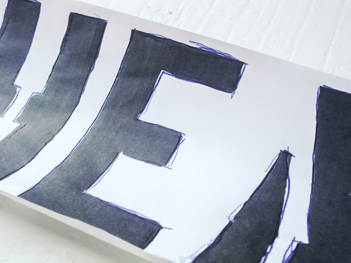 tracing letters onto wood