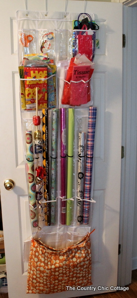 Shoe bag organizer turned gift wrapping organizer