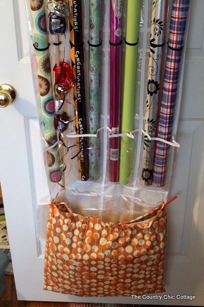 Wrapping paper organizer from shoe bag