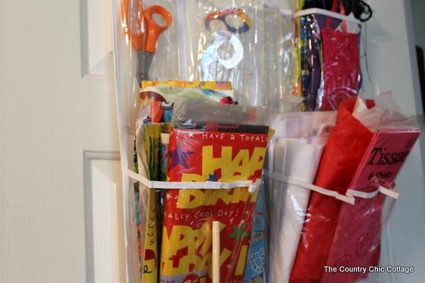 Gift wrap supplies storage