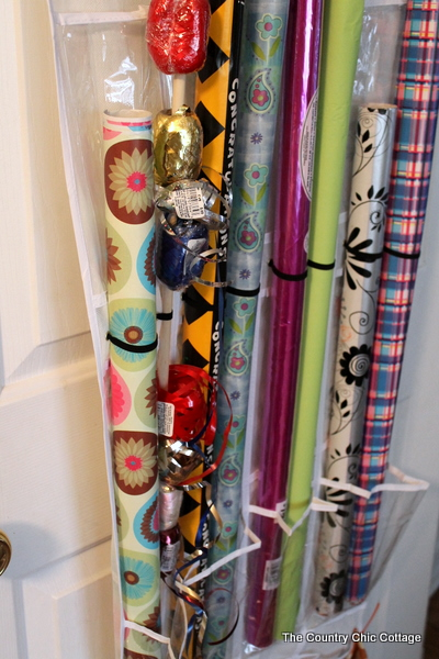 wrapping paper in shoe bag organizer