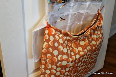 gift bag fabric pouch attached to shoe organizer