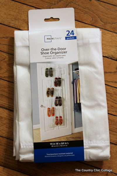Gift Wrap Storage {from An Over The Door Shoe Organizer}   The Country Chic  Cottage