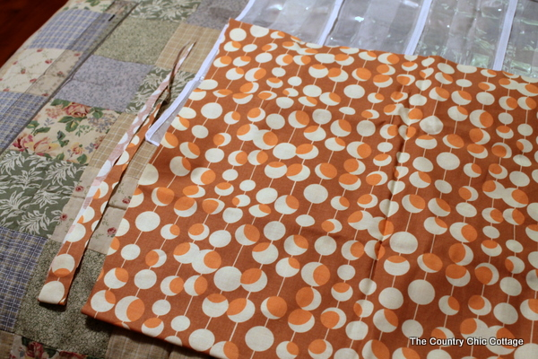 Fabric scut for wrapping paper organizer