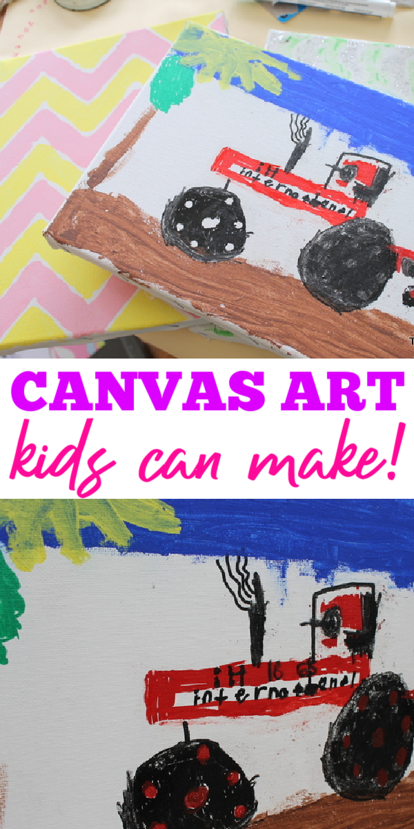Use these children's canvas art ideas to make something with your kids any day of the week! Easy ideas that will work for kids of all ages and skill levels! #kidscrafts #canvasart #children