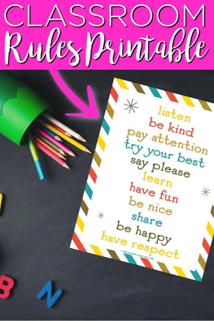 Print this classroom rules printable for free and add to your classroom! Perfect for teachers and even those that are homeschooling! #teacher #printable #freeprintable #classroom