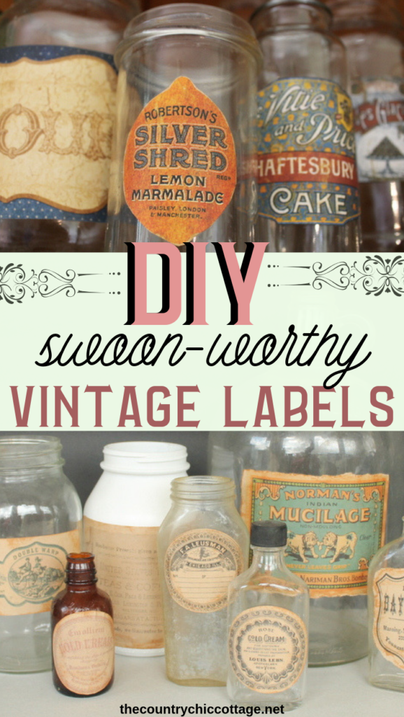 Make these DIY vintage labels with some scrapbook paper and stamps! Turn jars ready for the trash into something amazing for your farmhouse style home! #vintage #farmhouse #farmhousestyle #diy #crafts