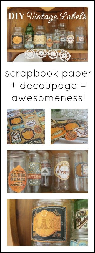 Make your own DIY vintage labels with some scrapbook paper and decoupage!  So easy!  Click to see how!