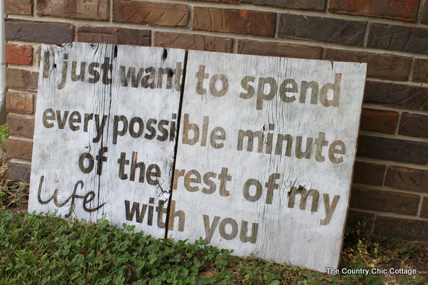 Make a barn wood sign with a quote from the Hunger Games for your home!
