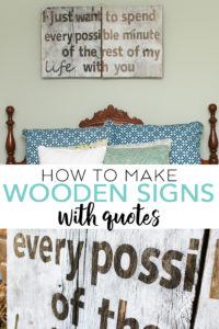 Learn how to make wooden signs with quotes using your Cricut machine! A great way to make rustic art for your farmhouse style home! #farmhouse #cricut #cricutmade #barnwood