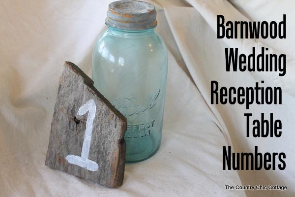 barn wood wedding reception table numbers