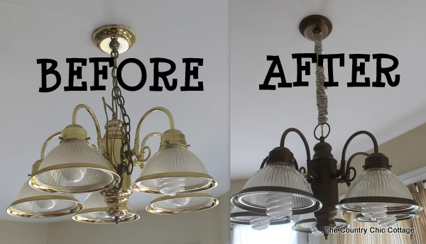 How to spray paint your light fixtures the country chic cottage i have used this same painting method on some fixtures in my bathroom over a year ago so i know the method works plus it stays put and looks great for the mozeypictures