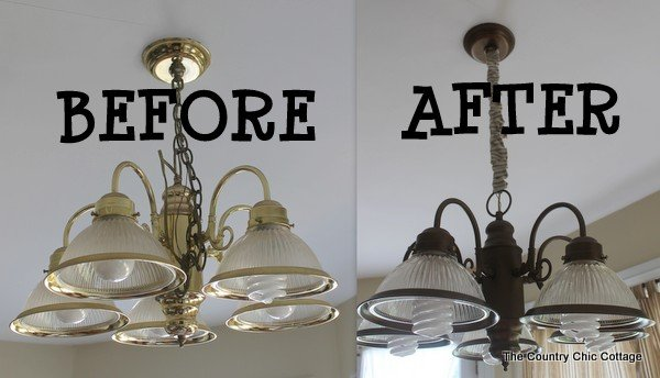How To Spray Paint Your Light Fixtures The Country Chic Cottage - Country cottage kitchen light fixtures